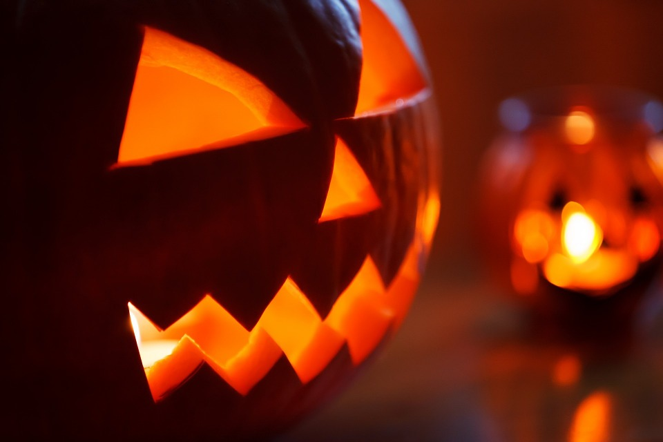 Close-up of a lit jack-o-lantern