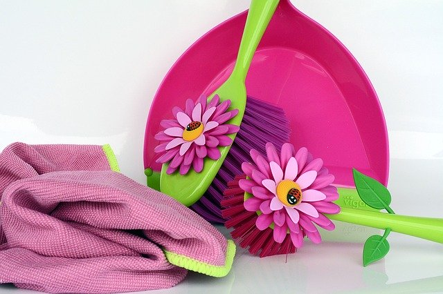 Colorful cleaning supplies for spring