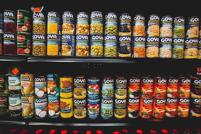 Rows of cans at food bank